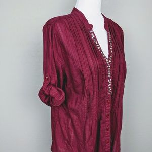Style & Co Wine Colored Tunic Length Blouse Size M